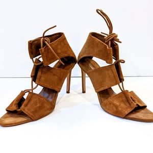 Zara Whisky Brown Leather Lace Up Heel